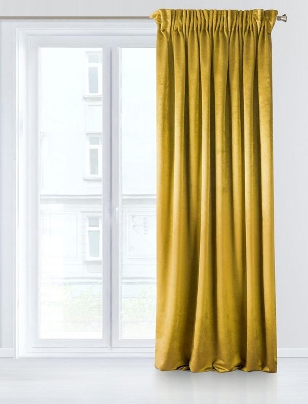 Kvalitní stínící závěs ve žluté barvě