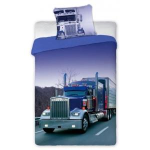 Bavlněné dětské povlečení na postel s motivem kamionu