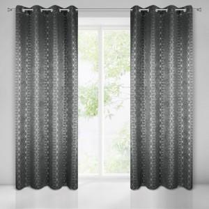 Luxusní závěsy do obýváku v tmavě šedé barvě