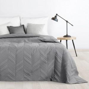 Tmavě šedý přehoz na postel s moderním prošíváním