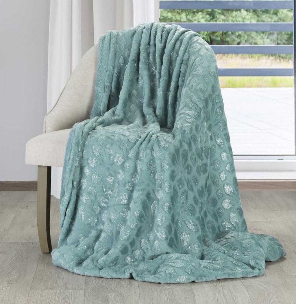 Jednobarevná deka v mentolové barvě s tištěným motivem květů