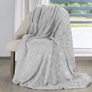 Kvalitní teplá deka v šedé barvě s motivem květů
