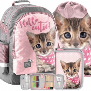 Školní taška s penálem a kapsou s motivem kočky