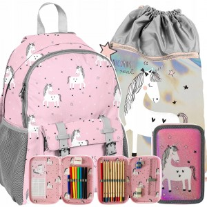 Školní taška pro dívky s lesklým vakem a penálem