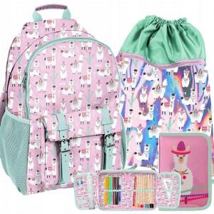Mentolově růžový batoh s vakem a penálem