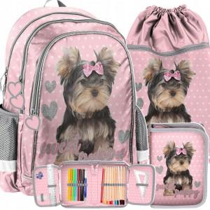 Růžová školní taška s pejskem
