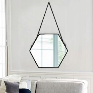 Originální černé závěsné zrcadlo v industriálním stylu