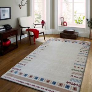 Béžový koberec do obýváku s geometrickými vzory