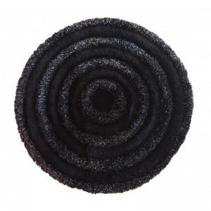 Stylový kulatý koberec do ložnice v černé barvě