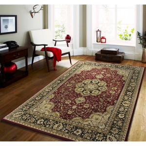 Stylový koberec v červené barvě s krémovými vzory