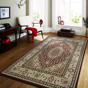 Vintage koberec v červené barvě s krémovými vzory