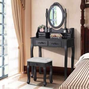 Černý toaletní stolek s velkým zrcadlem