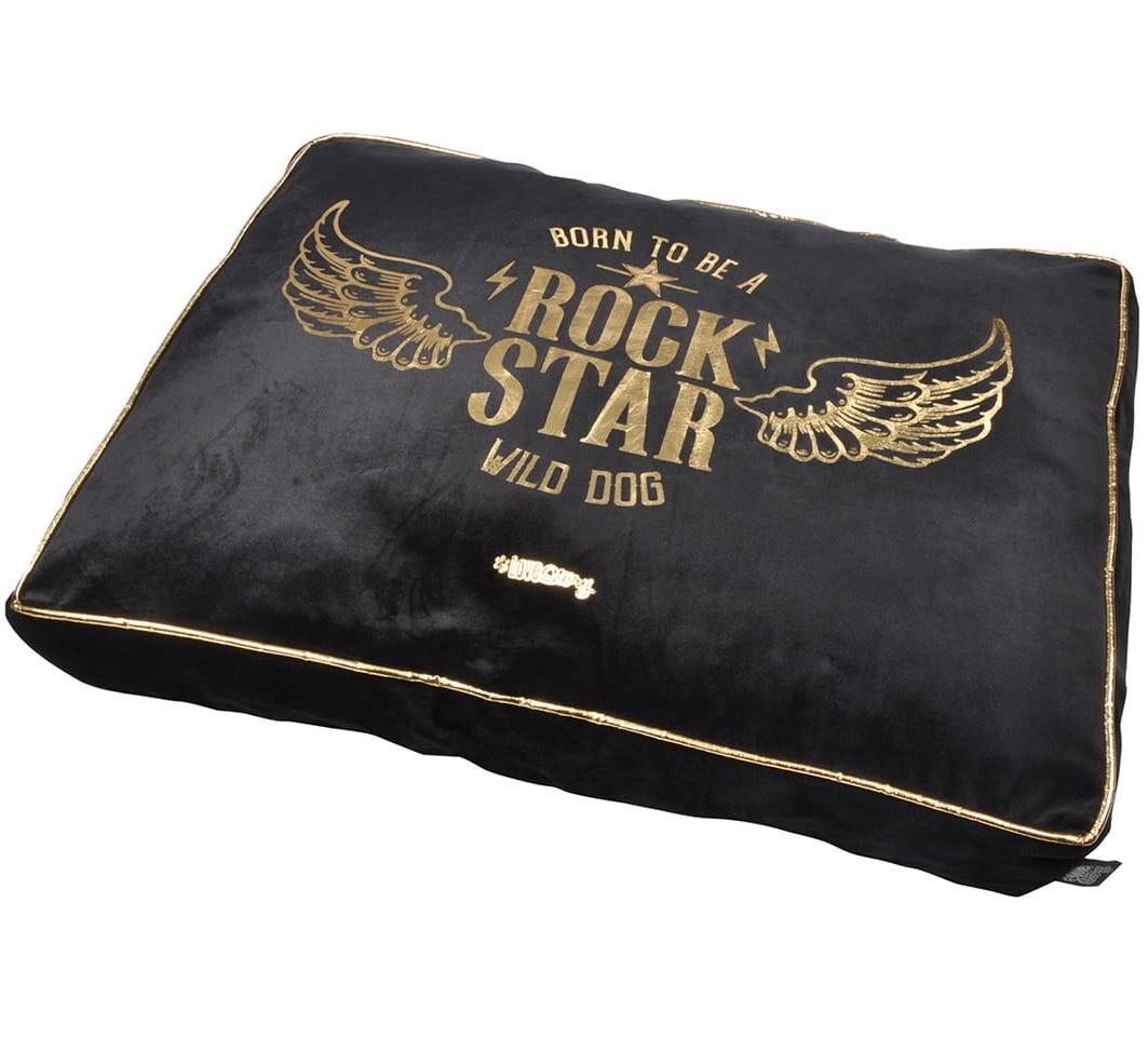 Černý luxusní pelíšek pro psy se slevou potiskem 60x45cm