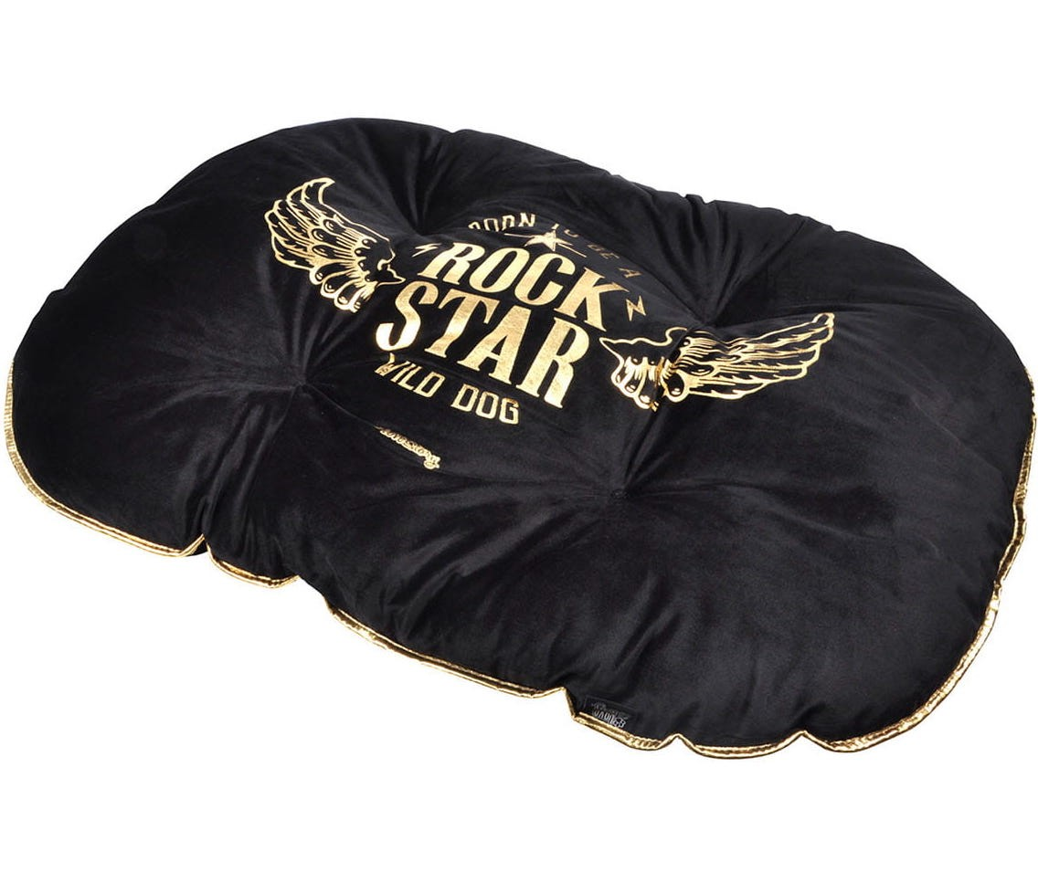 Moderní pelíšek v černé barvě pro psy ROCK STAR 69x52cm