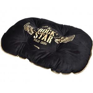 Moderní pelíšek v černé barvě pro psy ROCK STAR 87x64cm