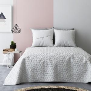 Oboustranné deky na postel v bílo šedé barvě s abstrakným vzorem