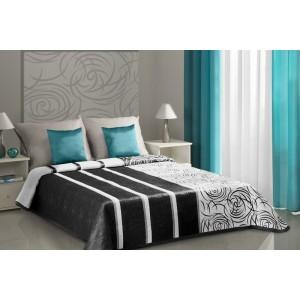 Černo-bílý oboustranný přehoz na postel s černými ornamenty a pruhy
