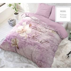Luxusní bavlněné ložní povlečení fialové barvy s nápisem 200 x 200 cm