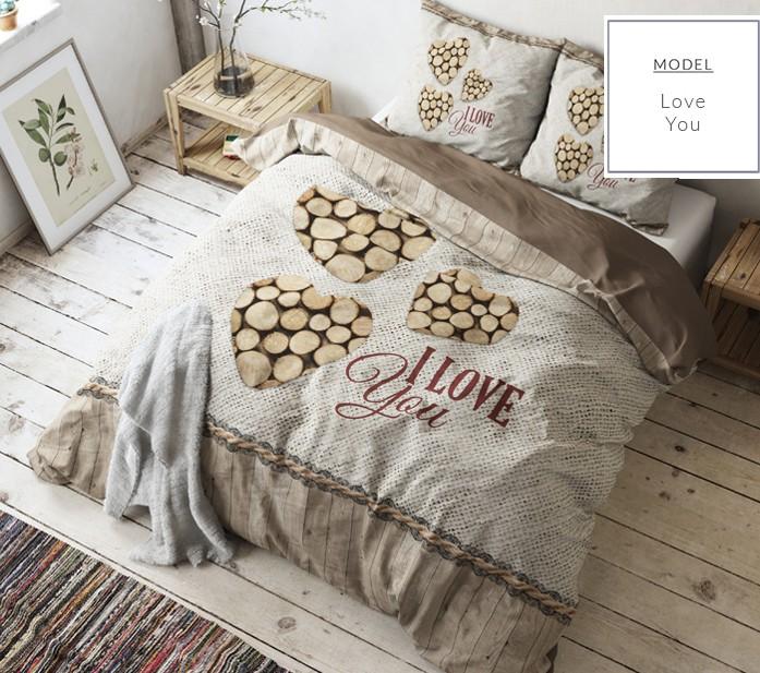 Hnědé ložní povlečení s motivem dřeva a nápisem I Love You 160 x 200 cm