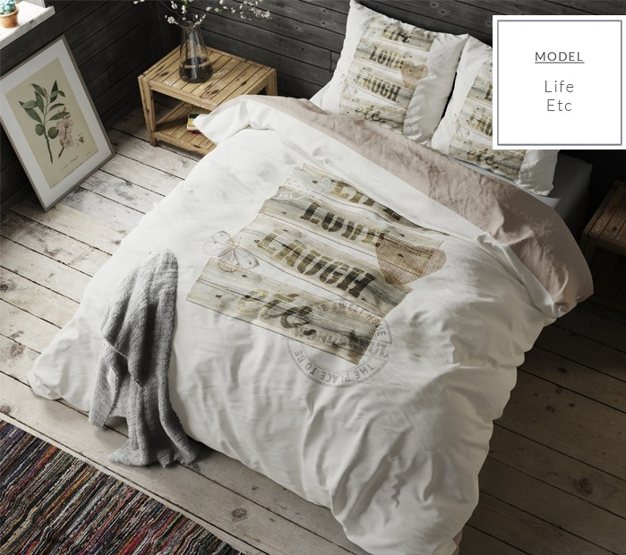 Béžové bavlněné ložní povlečení s nápisem 160 x 200 cm