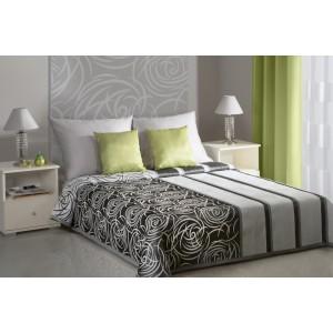 Přehoz na postel v bílé a ocelové barvě s ornamenty a pruhy bílé barvy