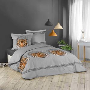 Bavlněné povlečení na postel šedé barvy s tygrem JACANA 200 x 220 cm