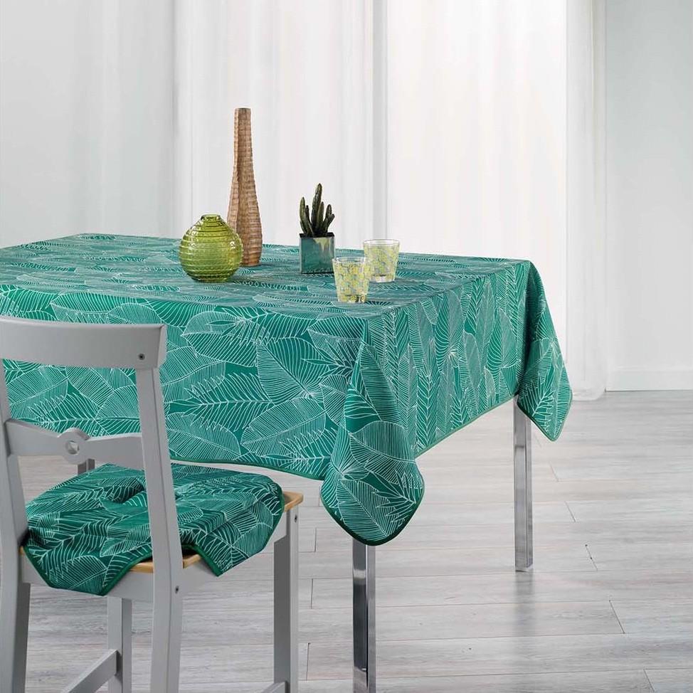 Ubrus do kuchyně zelené barvy s listovým vzorem GATSBY 150 x 240 cm