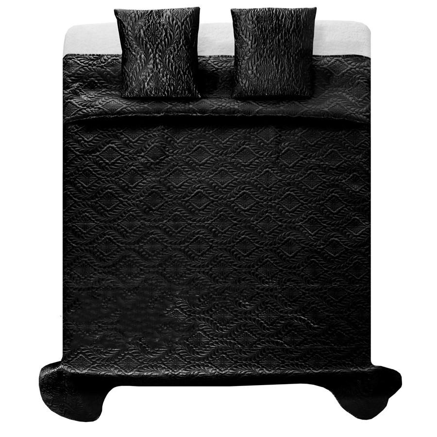 Kvalitní ložní přehozy na dvojlůžko v černé barvě 200 x 220 cm