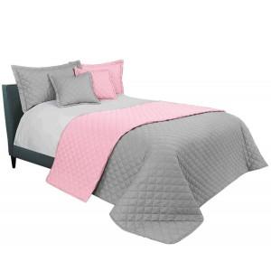 Kvalitní přehoz na manželskou postel v šedě růžové barvě