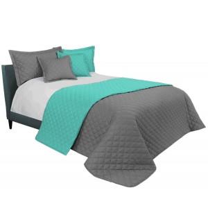 Šedě mentolový přehoz na manželskou postel