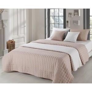 Prošívané přehozy na manželskou postel oboustranné béžové