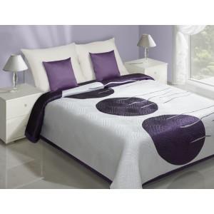 Bílý přehoz na postel s motivem tří velkých fialových koulí uprostřed