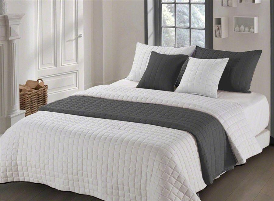 Oboustranný béžovo šedý přehoz na manželskou postel 200 x 220 cm