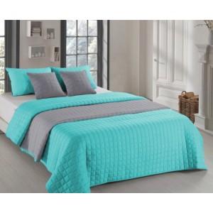 Mentolově šedé oboustranné přehozy na postel s prošíváním