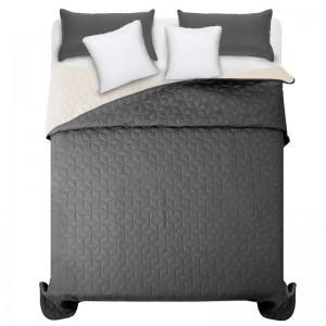 Kvalitní tmavě šedé přehozy na manželskou postel se vzorem diamantu