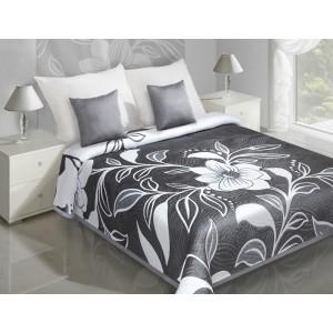 Oboustranný přehoz na postel šedé barvy s květy a listy