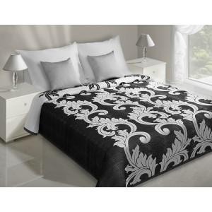 Přehoz na postel černé barvy s bílými ornamenty