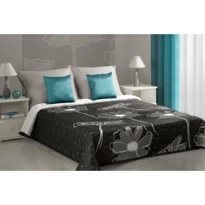 Černé přehozy na postel oboustranné s bílo-šedými rozkvetlými květinami