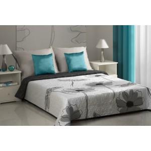 Oboustranné bílé přehozy na postel s motivem šedo-bílých květů