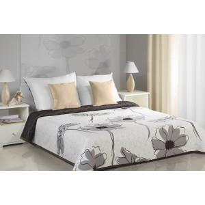 Bílé oboustranné přehozy na postel s motivem hnědých květů