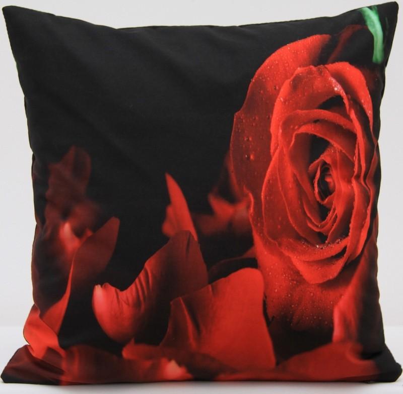 Luxusní povlak na polštář s motivem červené růže