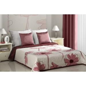 Bílé přehozy na manželskou postel s motivem rozkvetlých vínových květů
