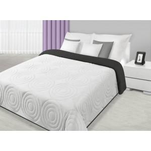 Přehoz na postel bílé barvy s kruhovým prošíváním