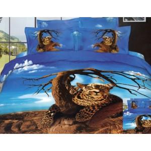 Modré povlečení na postel se vzorem geparda