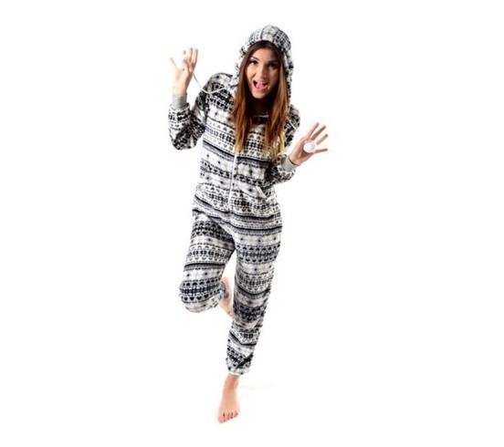 Krémovo šedé dámske pyžamové overaly s hvězdičkami velikost M