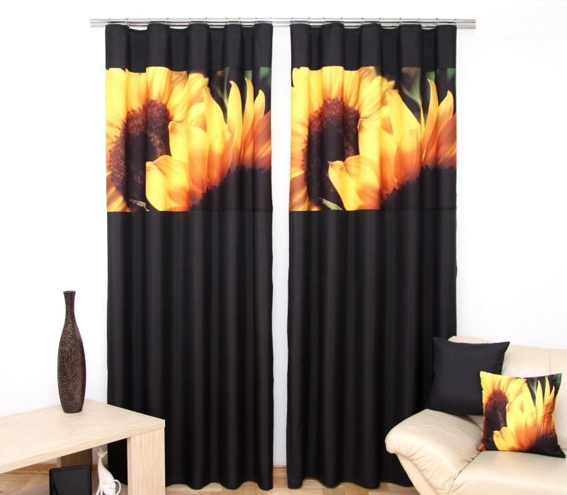 Závěs do obýváku dvoudílný se slunečnicemi