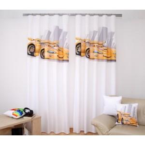 3D dvoudílný bílý závěs do dětského pokoje se žlutým autíčkem