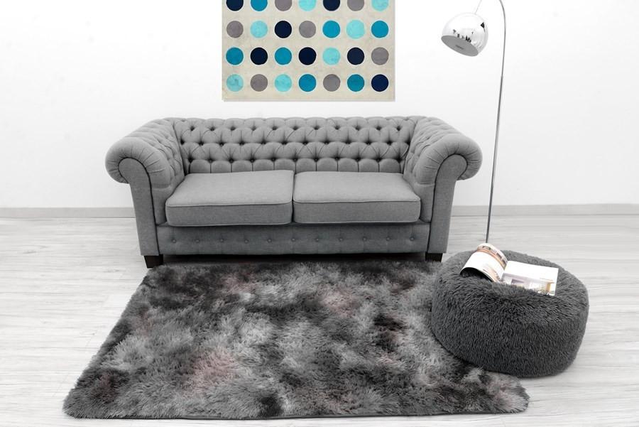 Sametově plyšové koberce šedé barvy 120 x 170 cm