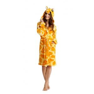 Žlutý župan pro dámy s motivem žirafy