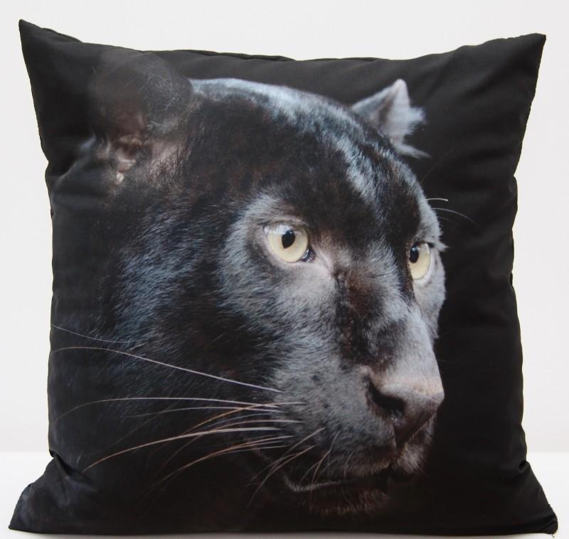 Luxusní povlak na polštář s motivem černé kočky
